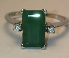 SALE!  Antique Natural Emerald and Diamonds Ring . $875.00