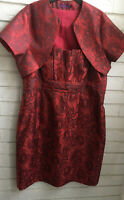 DEBUT RED & BLACK FLORAL DRESS WITH MATCHING SHRUG Size 16