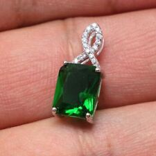925 Sterling Silver Green Spinel Cubic Zircon Gemstones Jewelry Necklace Pendant