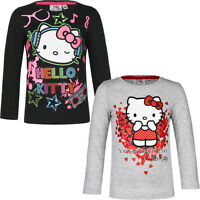 Neu Langarmshirt Mädchen Pullover Hello Kitty grau schwarz 98 104 116 128 #97
