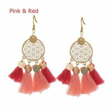 Lovely Gold Color Round Sequins Boho Ethnic Tassel Drop Earrings Women Fashion Purple