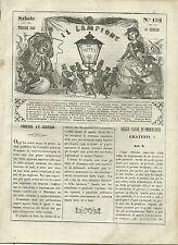Giornale Il Lampione Lorenzini Collodi Episodi Vita Re Guerriero N. 152 1849