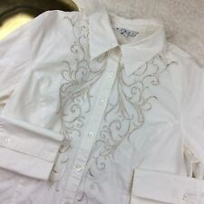 Cabi Women Long Sleeve Button Down Blouse White Embroidered Shirt Top Size XL