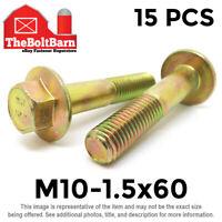 15PCS M10-1.5x60 MM Metric Hex Flange Bolts Grade 10.9 Screws Zinc Yellow