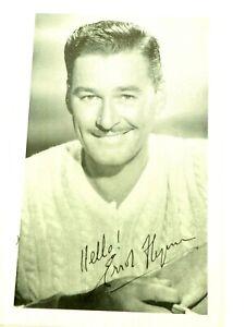 """Errol Flynn Auto Signed Exhibit B&W Photo Card 3.5"""" x 5.5"""""""