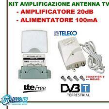 AMPLIFICATORE ANTENA DIGITALE TERRESTRE 20dB+ALIMENTATORE 1IN/OUT 12101C TELECO