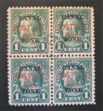 1925 US Canal Zone Postage Due Overprint  J15 used Block of 4