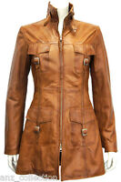 Lasvegas Tan Ladies Woman's Vintage Soft Washed Real Leather Jacket Trench Coat