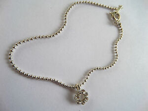 SILVER BALL CHAIN ANKLET ANKLE CHAIN WITH  WHITE FLOWER DIAMANTE CHARM new pouch