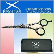 "5.5"" Professional Barber Hair Scissors & Shears TITANIUM BLACK With Laser Engrav"