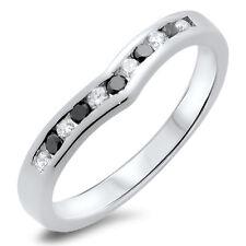 0.20ct Black & White Diamonds Wishbone Shaped Half Eternity Ring,9k White Gold