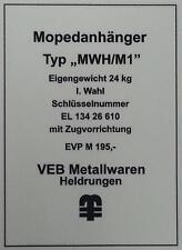 Typenschild für Simson Mopedanhänger / Transporthänger MWH/M1 , Typenaufkleber