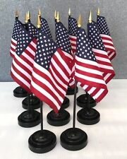 """LOT OF 12 American 4""""x6"""" Miniature Flags With Flag Stands, US Flags MADE IN USA"""