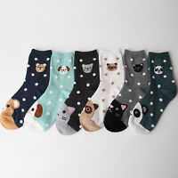 DOT ANIMAL CARTOON SOCKS 6 pairs=1pack women girl cute MADE IN KOREA socks