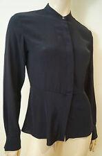GANT Midnight Blue Black 100% Silk Collarless Long Sleeve Blouse Top US8; UK12