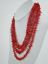 "Vintage Four Strand Natural Red Coral Waterfall 18"" Necklace 90.6g"