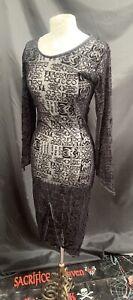 SDL Vintage Raven Black Flock Print Fitted  Dress Sm Deadstock