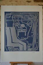 Michel Guino - Circuit imprimé bleu - Signée, numérotée - 1971