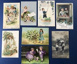 8 CHILDREN Birthday Antique Postcards, 1900s. EMB. Collector Items. NICE