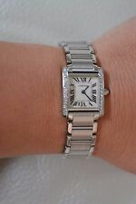 Cartier Tank Francaise Steel Ladies Watch 2384 Quartz with Custom Diamond bezel