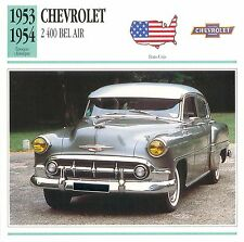 Chevrolet 2400 Bel Air 6 Cyl. 1953-1954 USA CAR VOITURE CARTE CARD FICHE