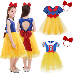 Snow White Costume Kid Girls Princess Dress Headband Outfits for Birthday Party