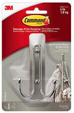3M Command Large Brushed Nickel Double Decorative Hook Damage Free Hanging