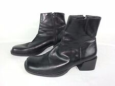 ENZO ANGIOLINI CRISA BLACK LEATHER ANKLE ZIPPERED BOOTS SIZE 8.5 Made in Brazil