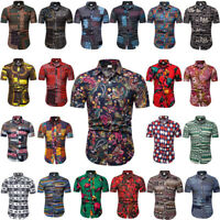 NEW Men Hawaiian Summer Floral Print Beach Short Sleeve Camp Casual T-Shirt Tops