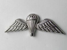 BRITISH PARATROOPER SAS LARGE SILVER COLORED JUMP WINGS LAPEL PIN BADGE 2 INCHES