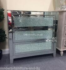 EX DISPLAY MIRRORED CHEST OF 3 DRAWERS WITH MOSAIC CRACKLE GLASS DOORS,