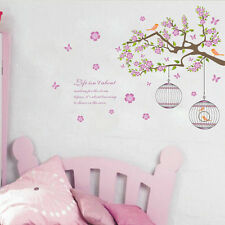 Tree Branch Flower Bird Cage Quote Wall Decal Mural Wall Sticker Vinyl Words Art