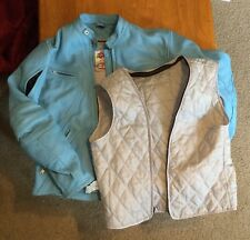 """Women's Small """"Rocket Girl"""" Genuine Leather Motorcycle Jacket and Vest:  Blue"""