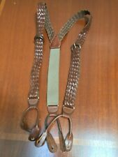 Braided Brown Leather Suspenders Buckle Adjustment Leather Attachments