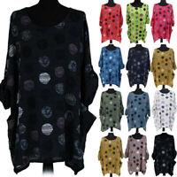 Women Dot Long Sleeve Loose Tunic Comfy T Shirt Pocket Casual Blouse Tops CHEN