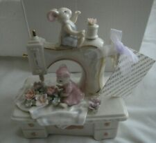 Mice On Sewing Machine The Suberto Collection Cosmos Music Box Fine Porcelain