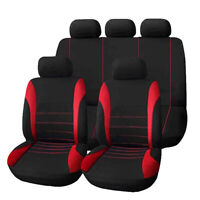 Red+Black Universal Car Seat Covers 9 Set Full Styling Seat Cover For 5-Seats.