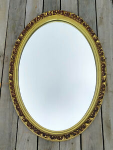 Vintage Mid Century Gold Oval Hollywood Regency Acanthus Leaf Wall Mirror