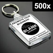 500x Premium Clear Acrylic Blank Keyrings Key Fobs 45 x 35 mm | Passport Photo