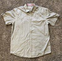 Men's MICHAEL BRANDON GRAY SHORT SLEEVE BUTTON DOWN SLIM FIT SHIRT Pockets -XL