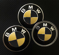 Black & Gold CARBON Overlay Decal - BMW BADGE EMBLEMS Roundel Rims Hood Trunk