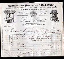 """PARIS (IX°) APPAREILS de CHAUFFAGE & d'ECLAIRAGE / ULTIMUS """"Louis BEZIAT"""" 1922"""