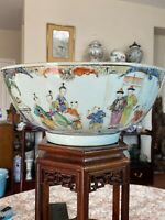 Fine Antique Chinese Famille Rose Mandarin Punch Bowl 18th C