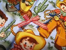 Baby Cuddle Security Blanket Blankey Lovey Cowboys Puppy Horses Western Rodeo