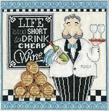Cross Stitch Kit ~ Design Works Life Is Too Short to Drink Cheap Wine #DW2864