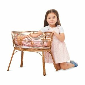 Latest New Baby doll Rattan Bassinet with Mattress Pretend Play toya FR