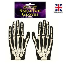 ADULT SKELETON GLOVES Black and Bone Halloween Horror Ladies Mens Fancy Dress UK