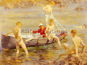 HENRY SCOTT TUKE RUBY GOLD AND MALACHITE ARTIST PAINTING REPRODUCTION HANDMADE