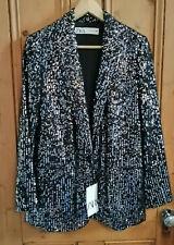 Zara AW19 Sequin Blazer Jacket Lapel Collar M Medium Ref 7765/050 Black Silver