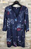 Joules Ladies Size 12 V Neck Blue Floral Long Sleeve Dress